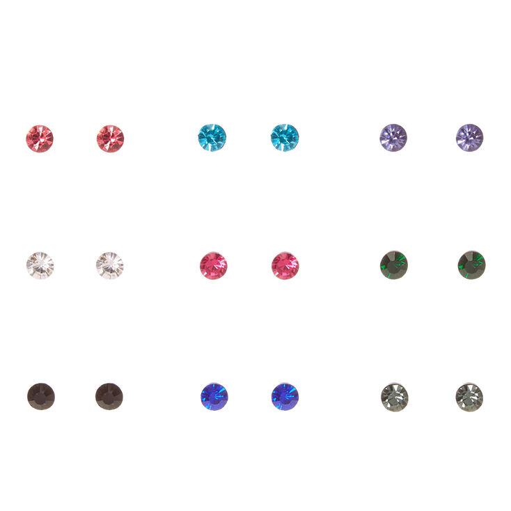 6MM Black Framed Round Colored Crystal Stud Earrings,