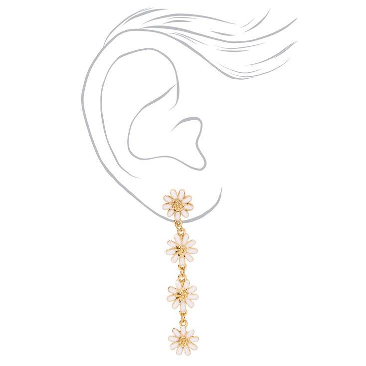 """Gold 2"""" Daisy Flower Linear Drop Earrings - White,"""