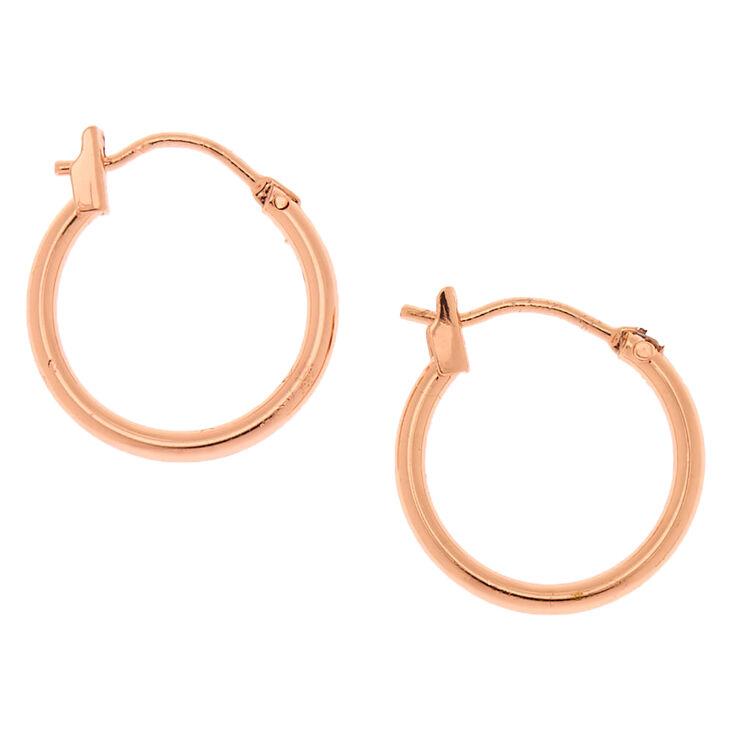 18kt Rose Gold Plated 15MM Hinge Hoop Earrings,