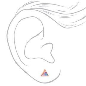 18kt Rose Gold Glitter Triange Stud Earrings,