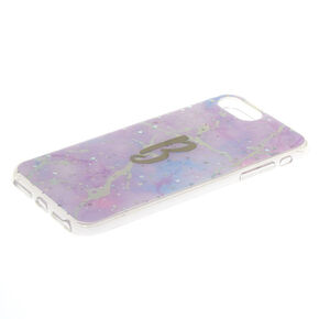 Lilac Marble Glitter B Initial Phone Case - Fits iPhone 6/7/8 Plus,