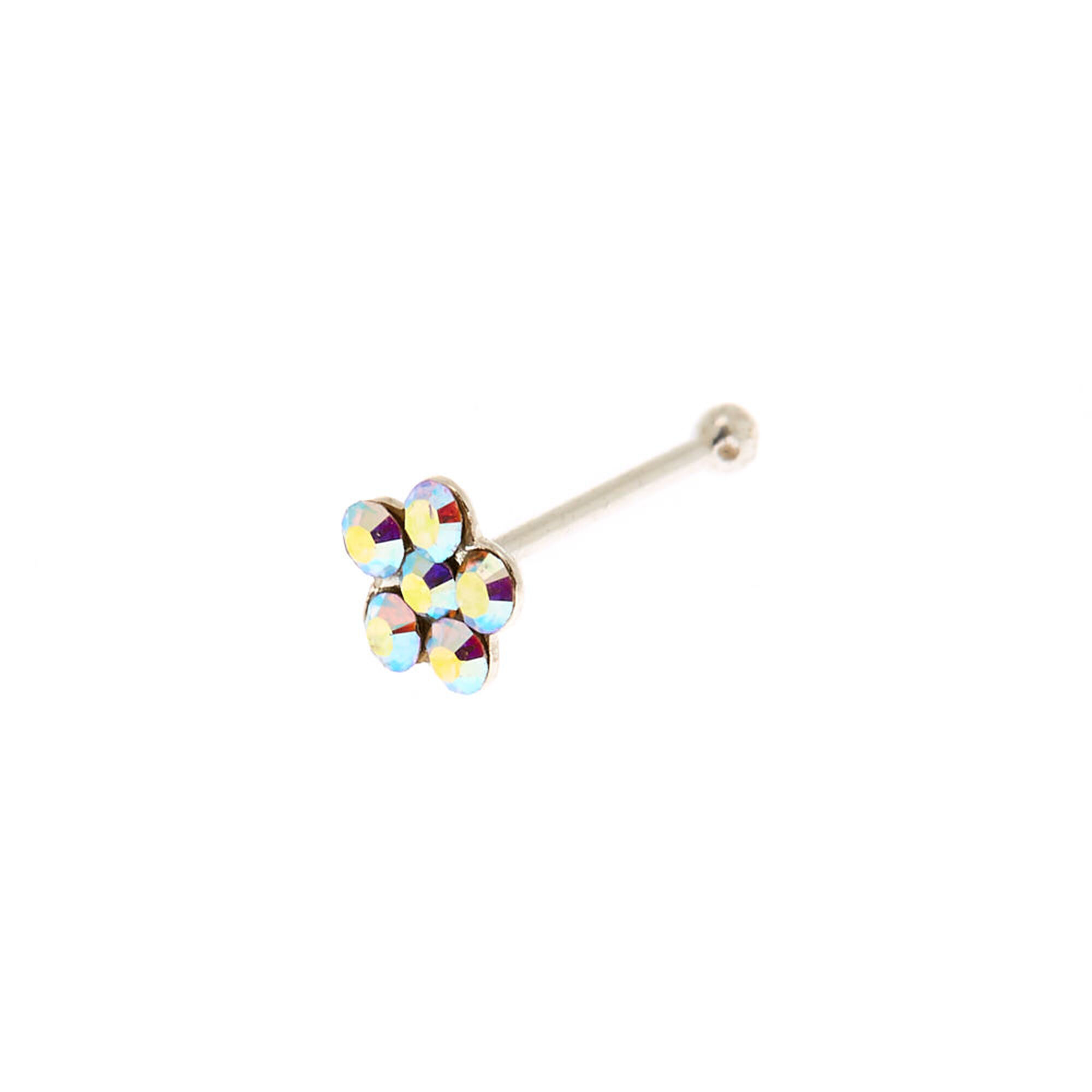 Sterling Silver 22g Iridescent Flower Stone Nose Stud Icing Us