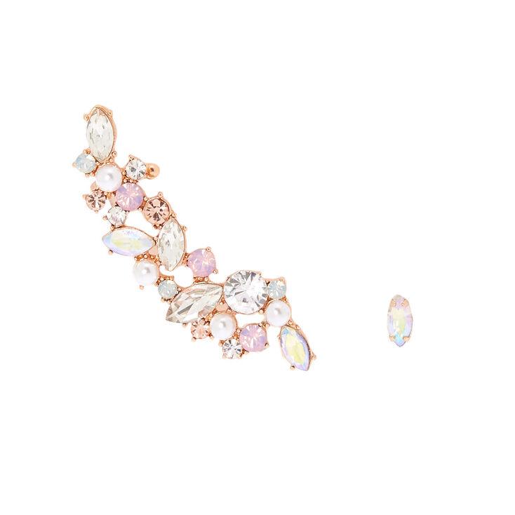 Rose Gold Mismatched Crawler Earring Set,