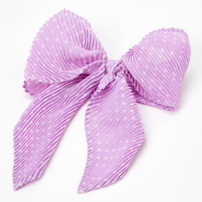 Polka Dot Pleated Hair Bow Clip - Lilac,
