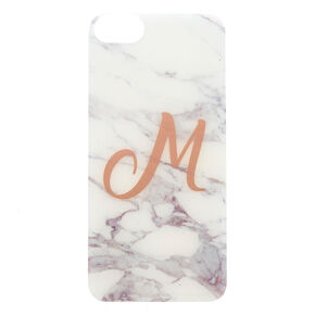 "White Marbled ""M"" Initial Phone Case - Fits iPhone 6/7/8 Plus,"