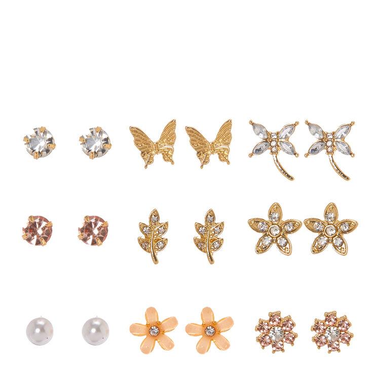 Gold Tone Nature Motif Stud Earrings,