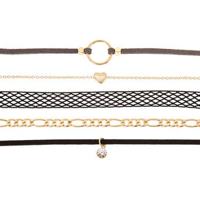 Gold Mixed Media Choker Necklaces - Black, 5 Pack,