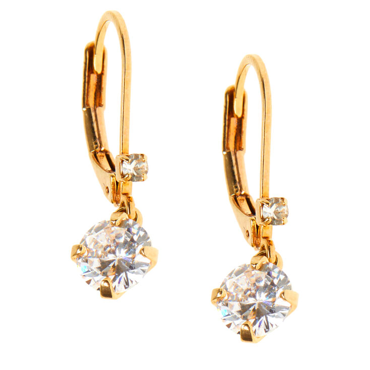 """18kt Gold Plated Cubic Zirconia 0.5"""" Crystal Lever Drop Earrings,"""