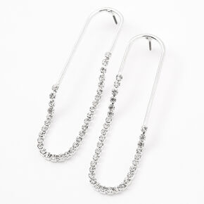Silver Rhinestone Rimmed Paperclip Drop Earrings,