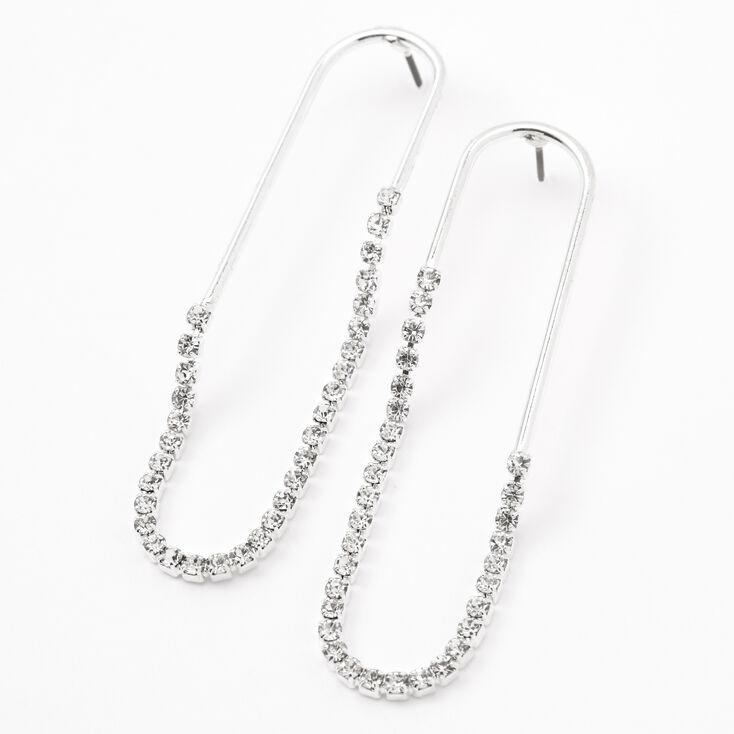 Silver Rhinestone Rimmed Paperclip Drop Earrings,