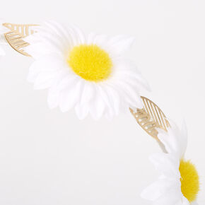 Daisy Golden Leaf Flower Headband - White,