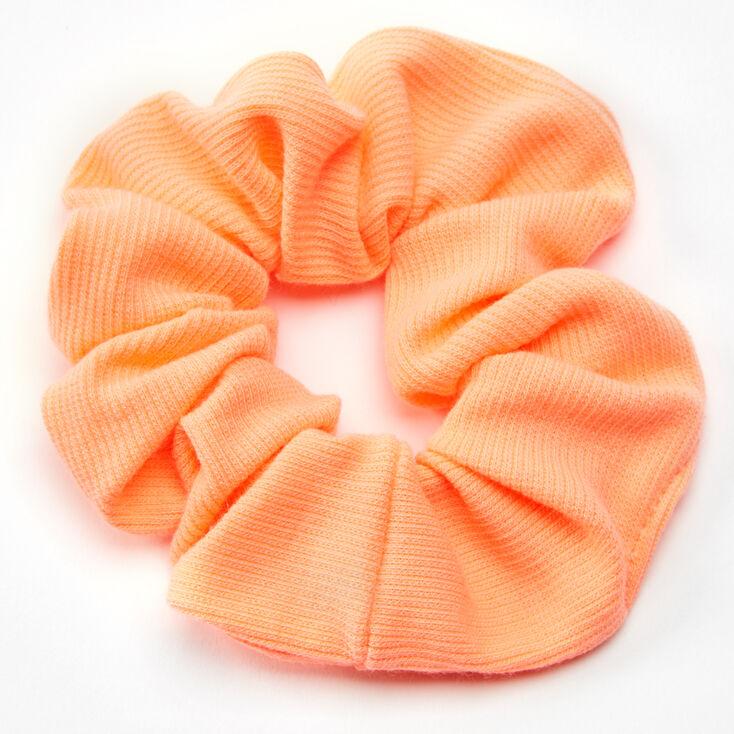 Light Orange Ribbed Hair Scrunchie - Medium,