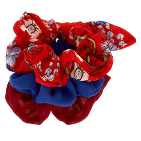 Floral Hair Scrunchies - Red, 3 Pack,