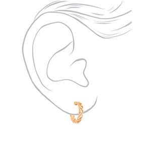 Gold 15MM Weave Hoop Earrings,