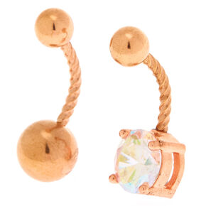 Rose gold 14G Stone Belly Rings - 2 Pack,