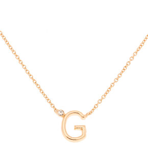 Gold Initial Necklace - G,