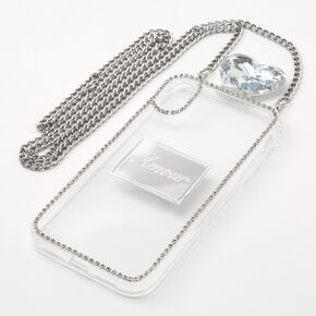 Silver Rhinestone Phone Case With Chain - Fits iPhone XR,