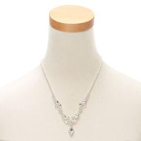 Silver Rhinestone Floral Vine Statement Necklace,