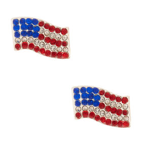 Silver American Flag Crystal Stud Earrings,
