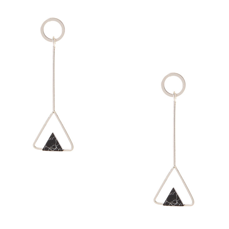 Silver Tone & Black Marbled Stone Triangular Drop Earrings,