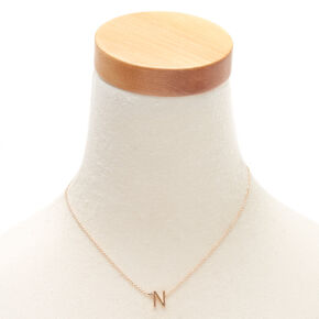 Gold Stone Initial Pendant Necklace - N,