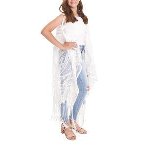 Crochet American Flag Kimono Vest - White,