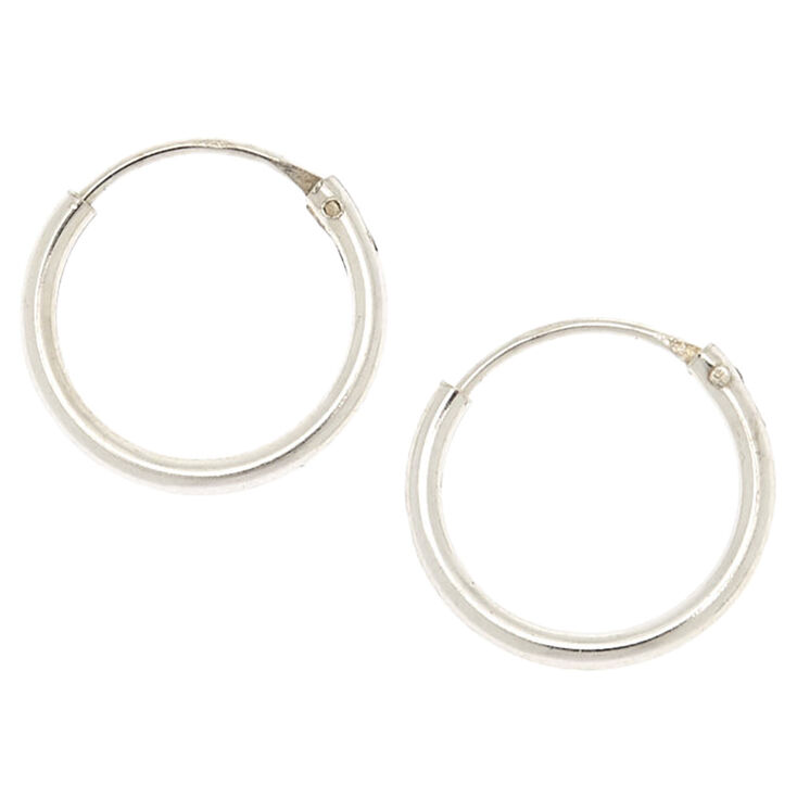 Sterling Silver 12MM Endless Hoop Earrings,