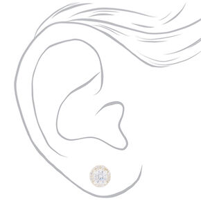 Sterling Silver Cubic Zirconia 5MM Halo Stud Earrings,
