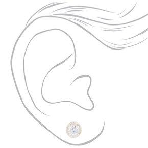 Sterling Silver Cubic Zirconia 5MM Halo Stud Earrings,