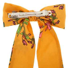 Floral Bow Scarf Hair Barrette - Mustard,