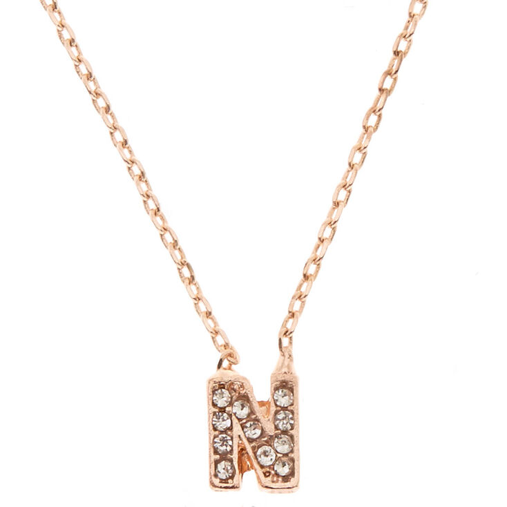 Rose Gold Embellished Initial Pendant Necklace - N,