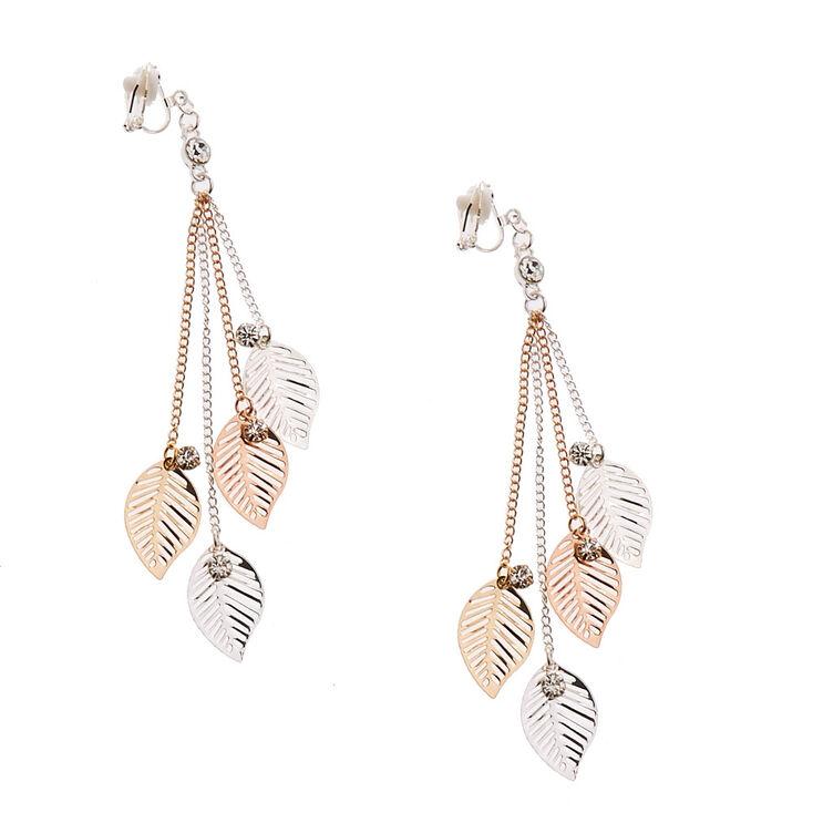 Silver & Gold Tone Leaf Fringe Clip-on Drop Earrings,