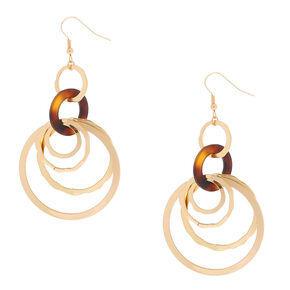 "Gold 2.5"" Round Link Tortoiseshell Drop Earrings - Brown,"