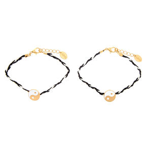 Gold Yin & Yang Wrapped Chain Bracelets - 2 Pack,