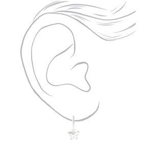 Silver 15MM Butterfly Charm Clip On Hoop Earrings,