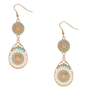 Minty Gold Tone Circle & Teardrop Drop Earrings,