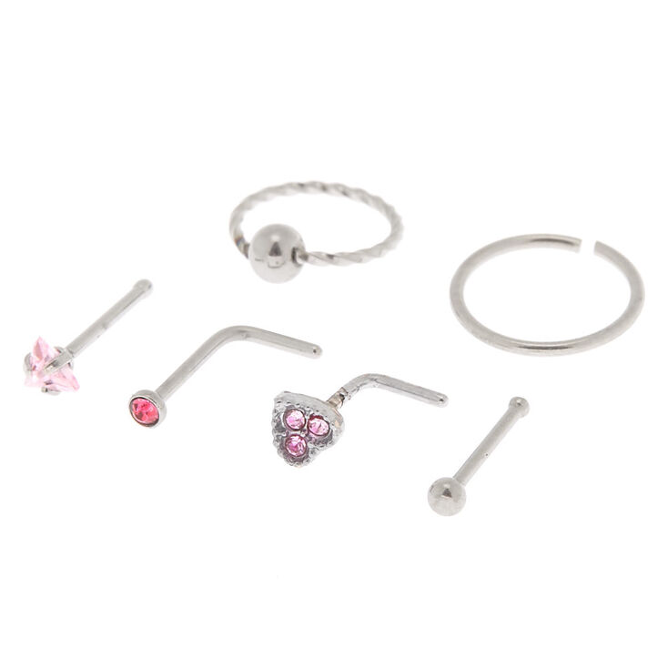 Silver 20G Heart Stud & Hoop Nose Rings - Pink, 6 Pack,