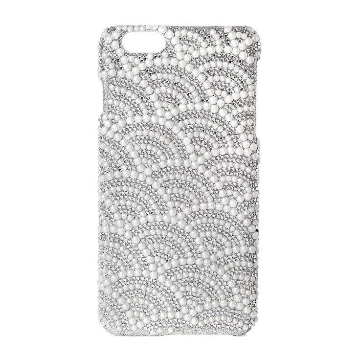 Scalloped Rhinestone & Pearl Phone Case - Fits iPhone 6/7/8,