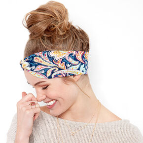 Bright Paisley Print Knotted Headwrap,