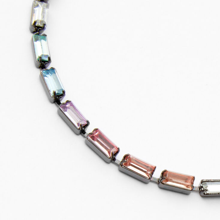 Hematite Rainbow Bar Adjustable Chain Link Bracelet,