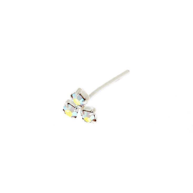 Sterling Silver 22G Iridescent Cluster Nose Stud,