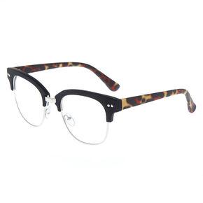 Leopard Browline Clear Lens Frames - Black,