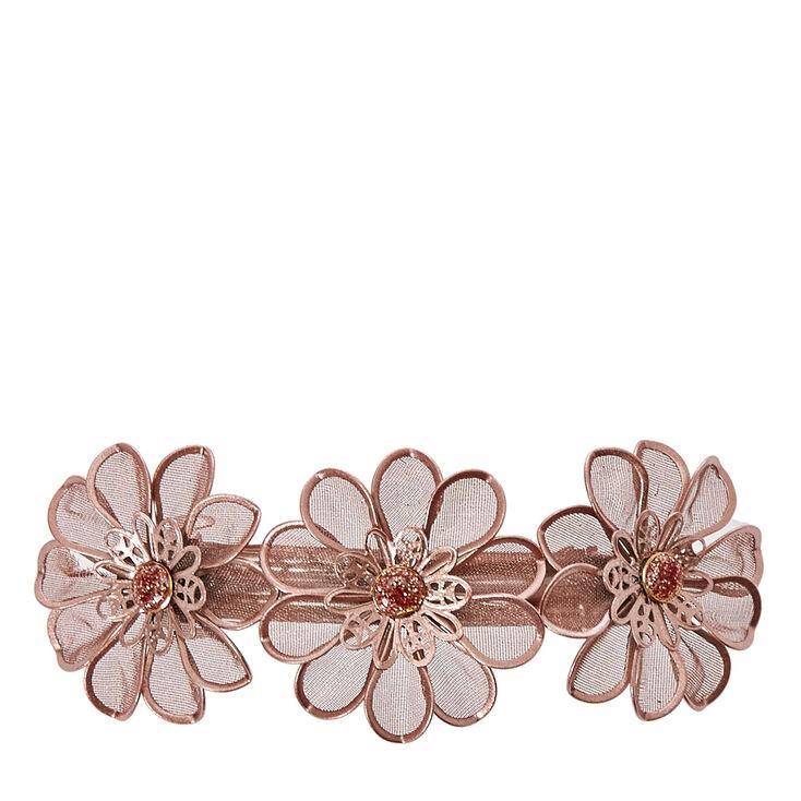 Rose Gold Mesh Flower Trio Hair Clip,