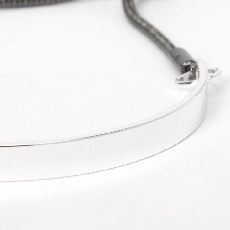Silver Beaded Bolo Cuff Bracelet,