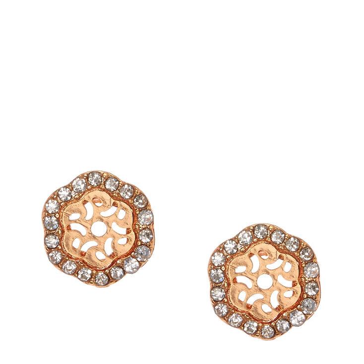 Rose Gold Crystal Hexagon Stud Earrings