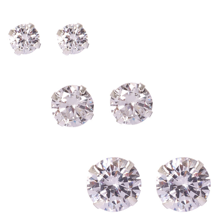 Sterling Silver Cubic Zirconia Round Stud Earrings - 5MM, 7MM, 9mm,