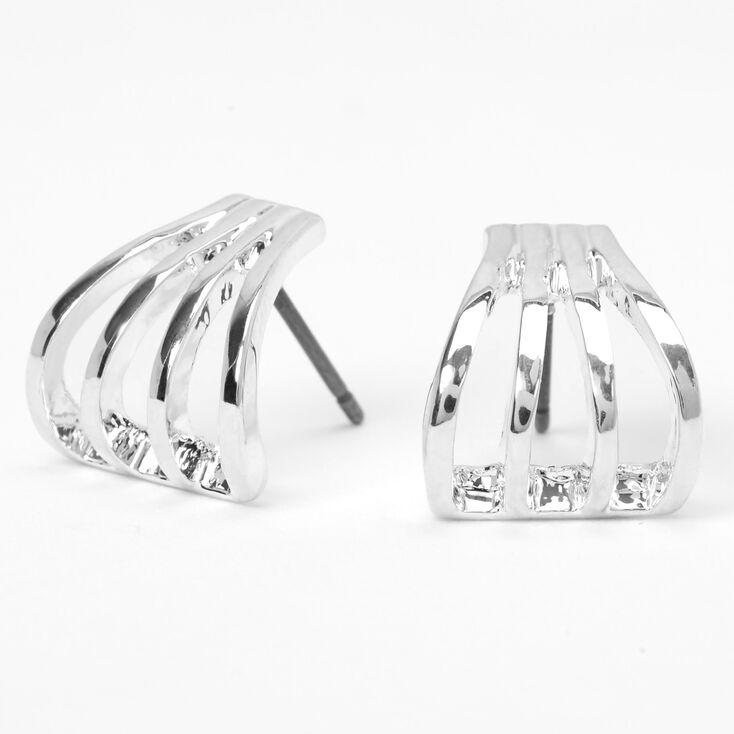 Silver 10MM Open Quad Hoop Stud Earrings,
