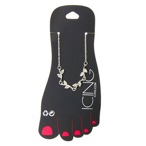 Silver Crystal Leaf Chain Anklet,