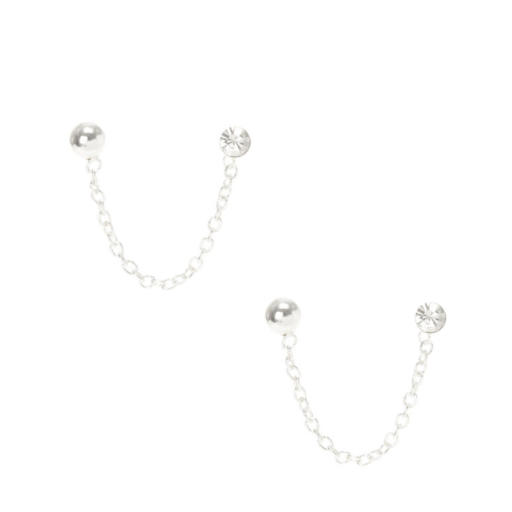 Sterling Silver Connecting Drop Earrings,