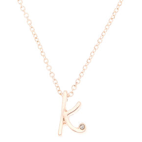Rose Gold Cursive Initial Pendant Necklace - K,
